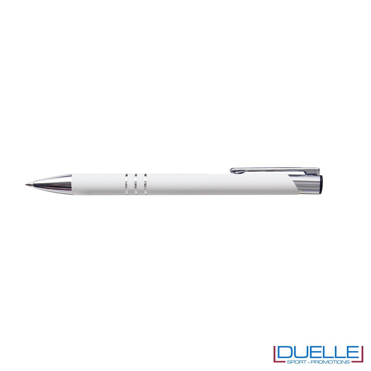 penna personalizzabile in metallo con finitura soft touch bianca, penne personalizzate promozionali soft touch bianco