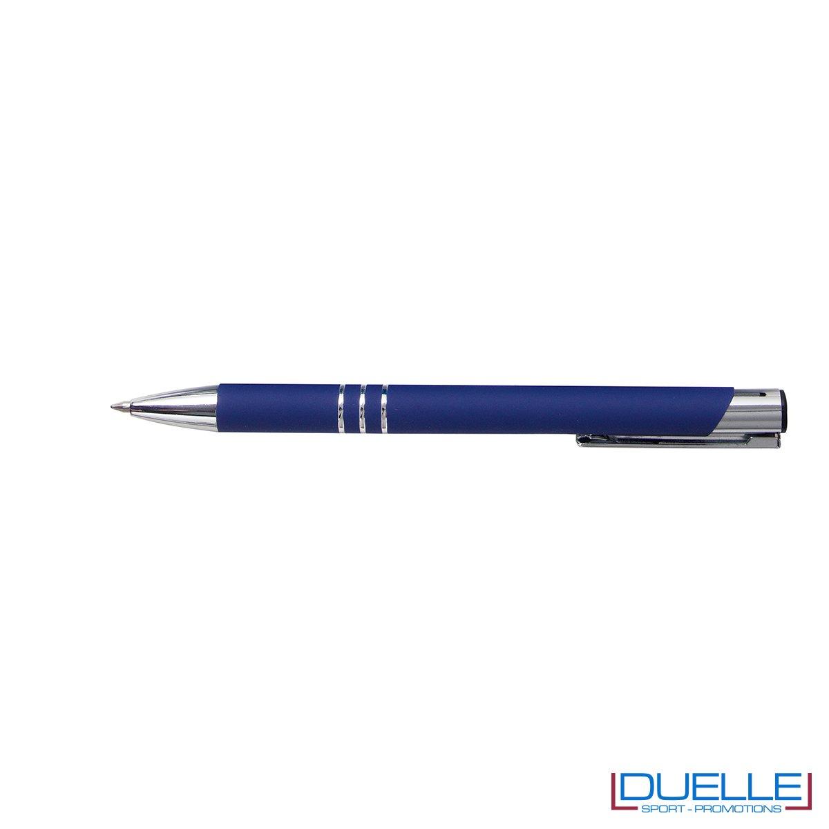 penna personalizzabile in metallo con finitura soft touch blu, penne personalizzate promozionali soft touch blu