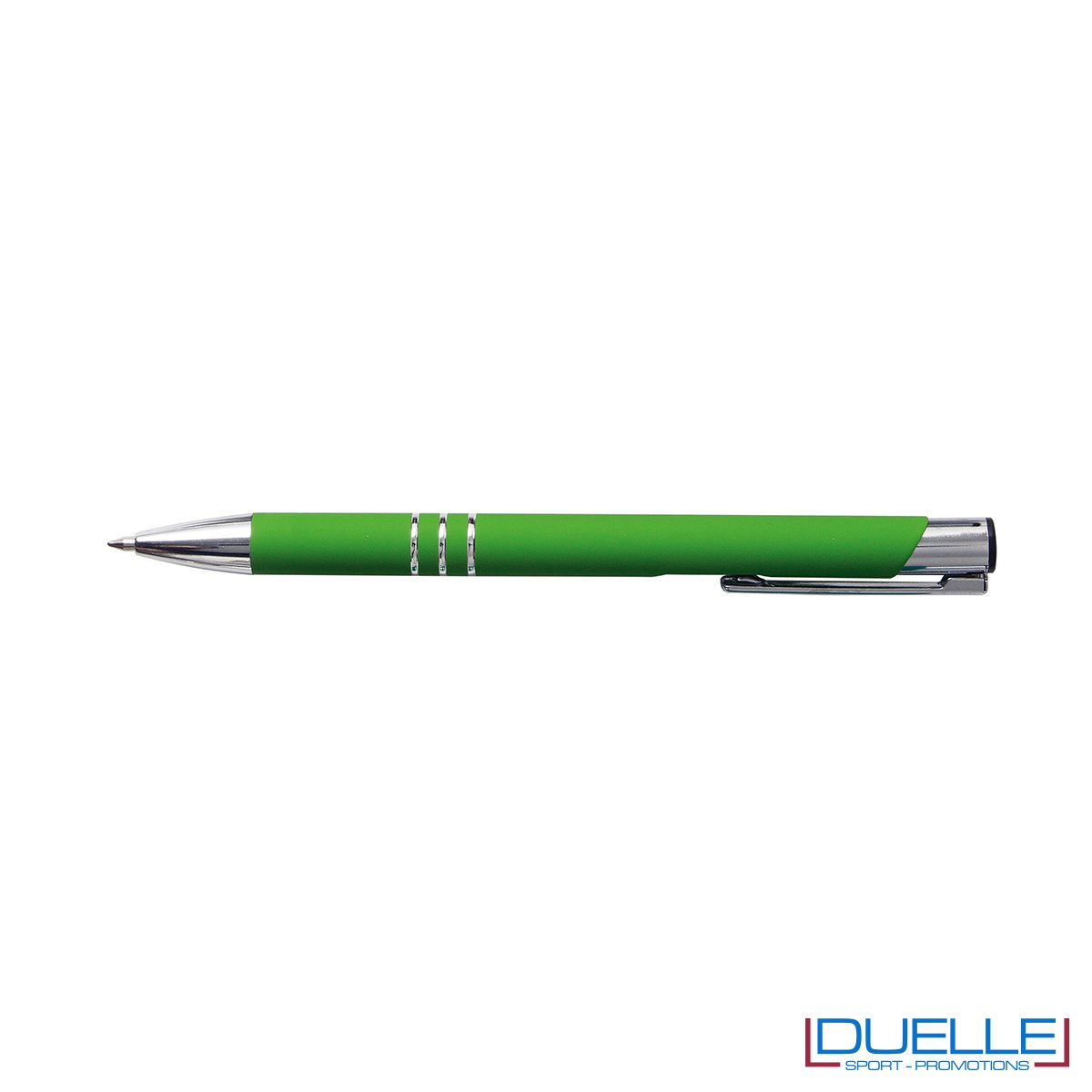 penna personalizzabile in metallo con finitura soft touch verde chiaro, penne personalizzate promozionali soft touch verde chiaro