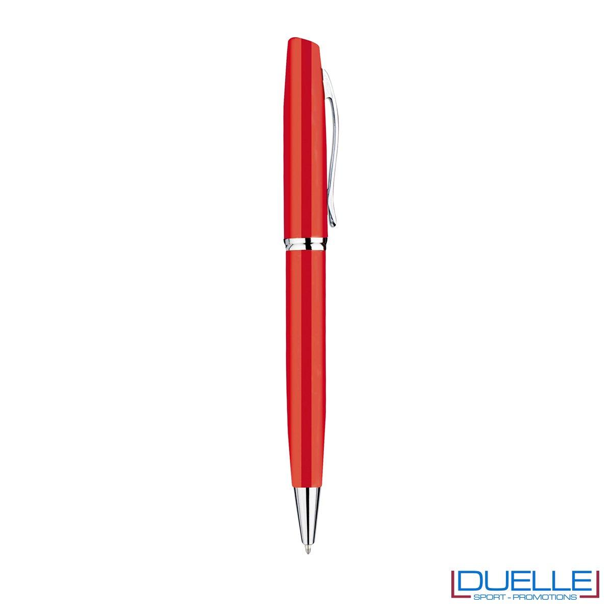Penna a sfera in metallo personalizzata con incisione colore rosso