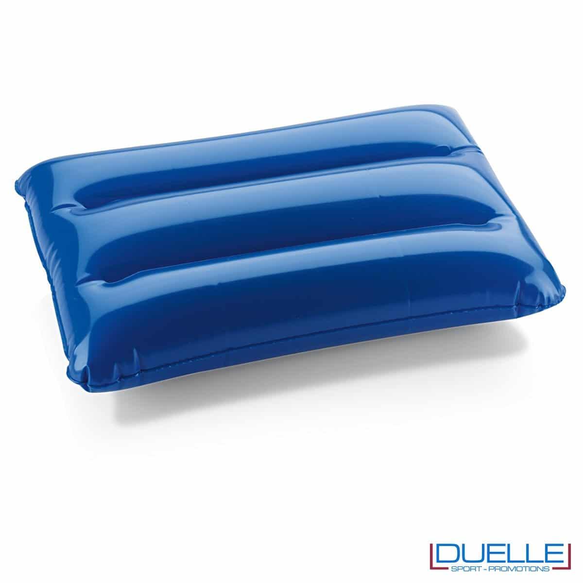 cuscino gonfiabile personalizzato in colore blu, cuscinetto gonfiabile, gadget mare personalizzati