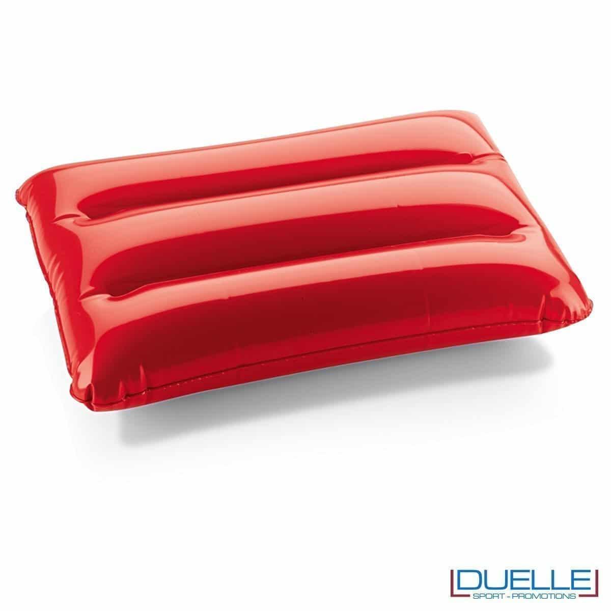 cuscino gonfiabile personalizzato in colore rosso, cuscinetto gonfiabile, gadget mare personalizzati