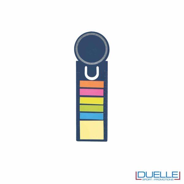 segnalibro personalizzato in cartoncino riciclato colore blu con post-it colorati e righello, gadget aziendali personalizzati
