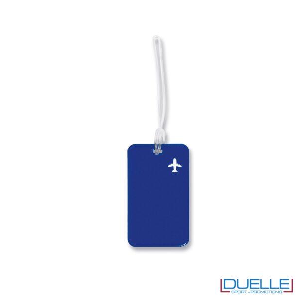 targhetta identificativa personalizzata colore blu, gadget promozionale viaggi