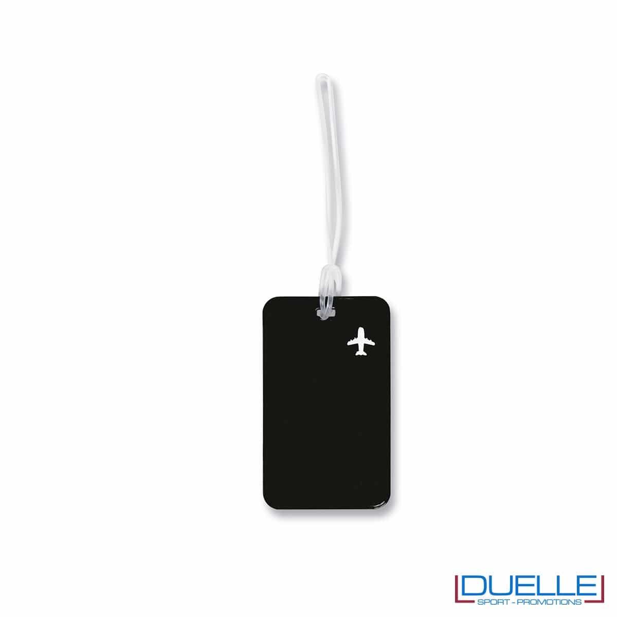 targhetta identificativa personalizzata colore nero, gadget promozionale viaggi