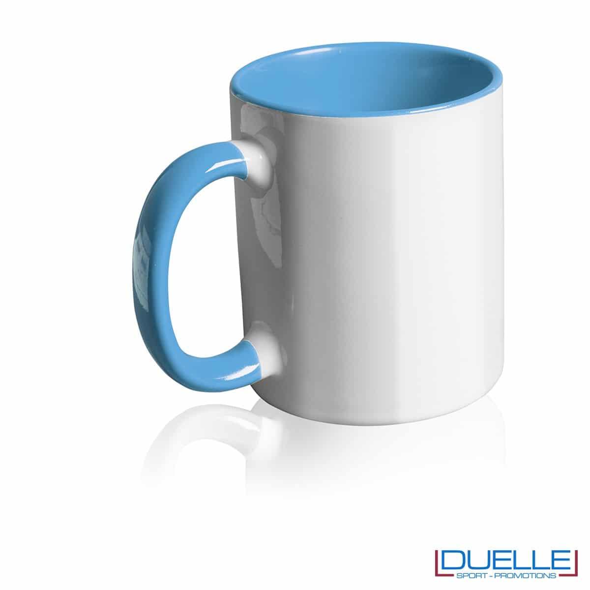 Tazza personalizzata promozionale in ceramica con interni azzurro
