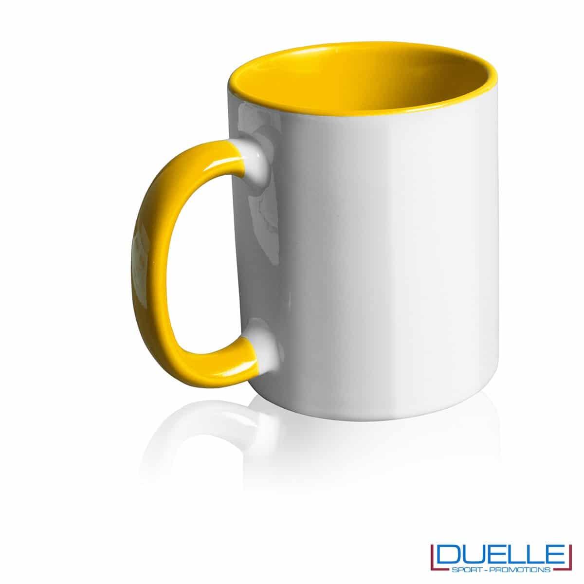 Tazza personalizzata promozionale in ceramica con interni giallo
