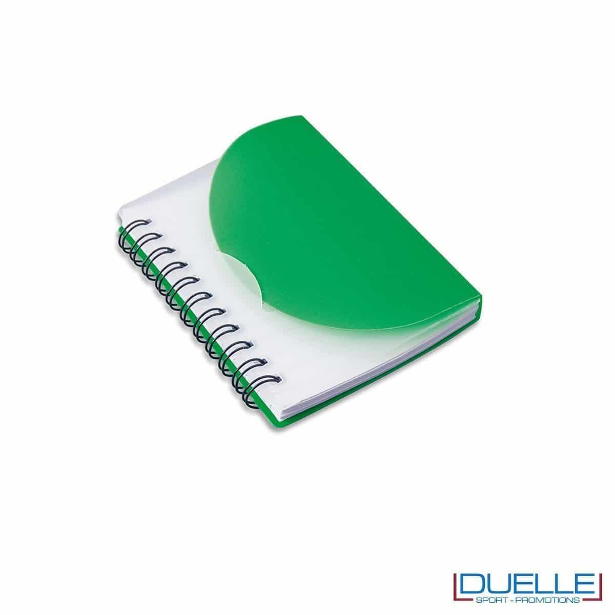 Quaderno personalizzato in plastica traslucida verde scuro
