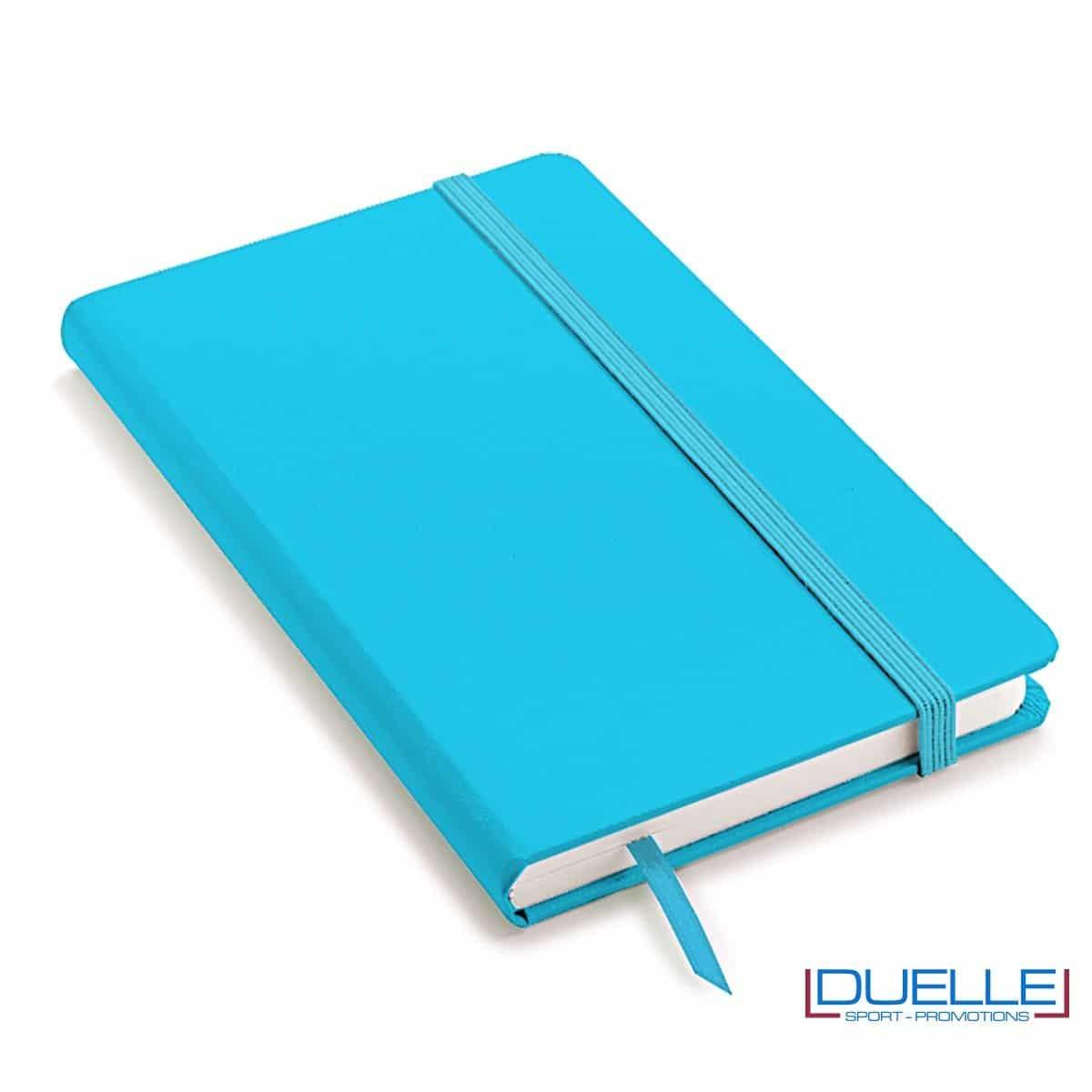 Quaderno appunti personalizzabile tipo moleskine A6 azzurro fluo