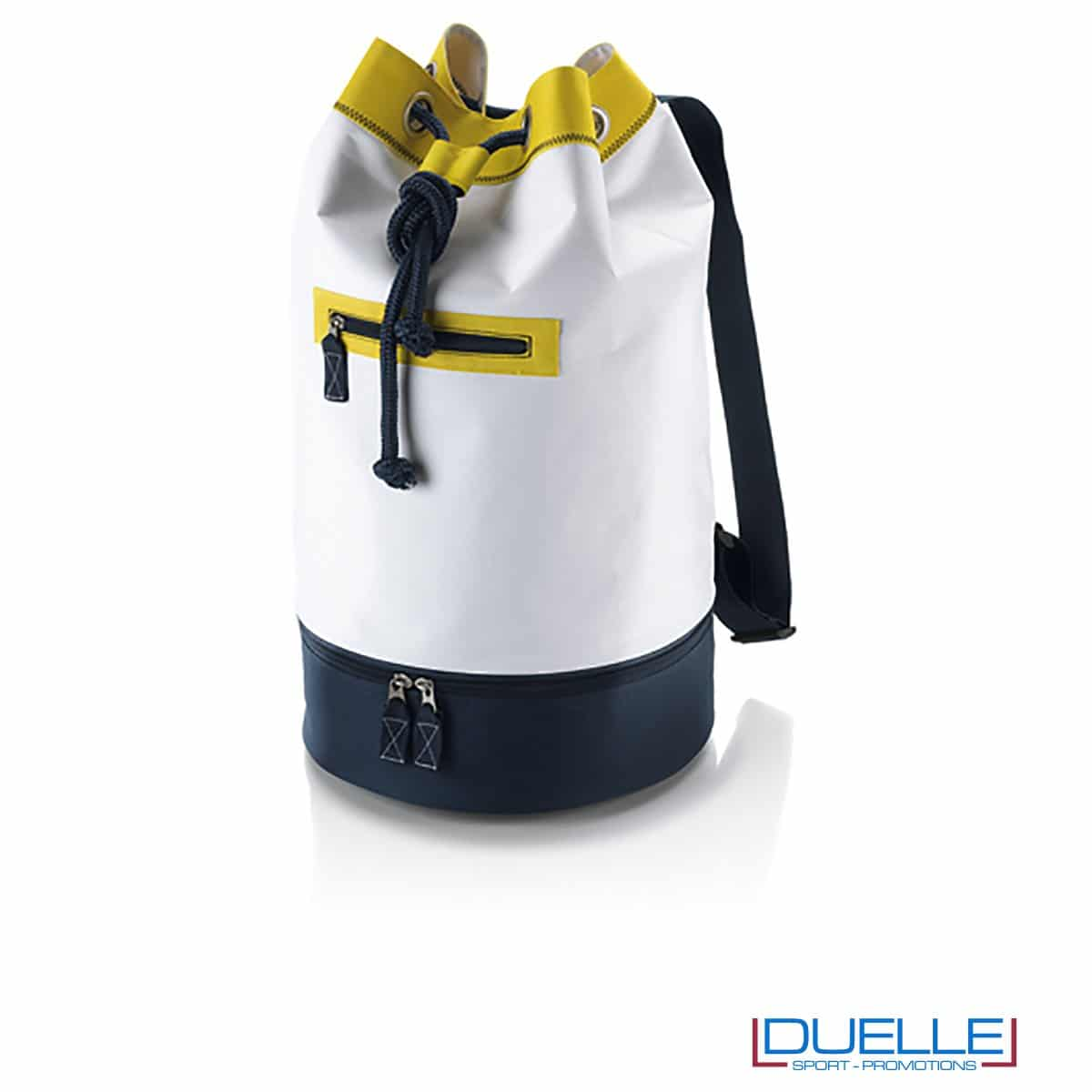 sacche mare personalizzate bianca e gialla, zaini mare personalizzabili