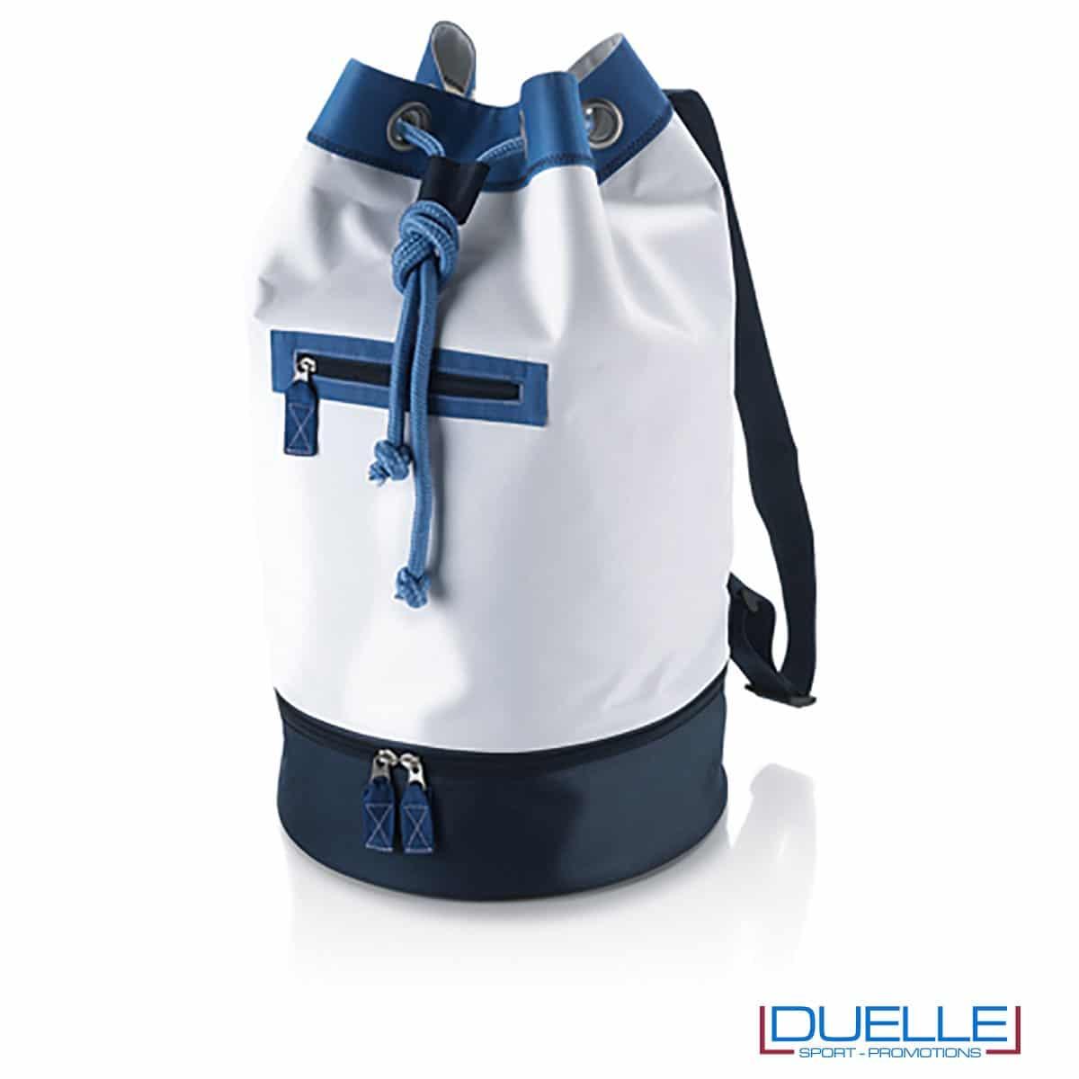 sacche mare personalizzate bianca e blu, zaini mare personalizzabili