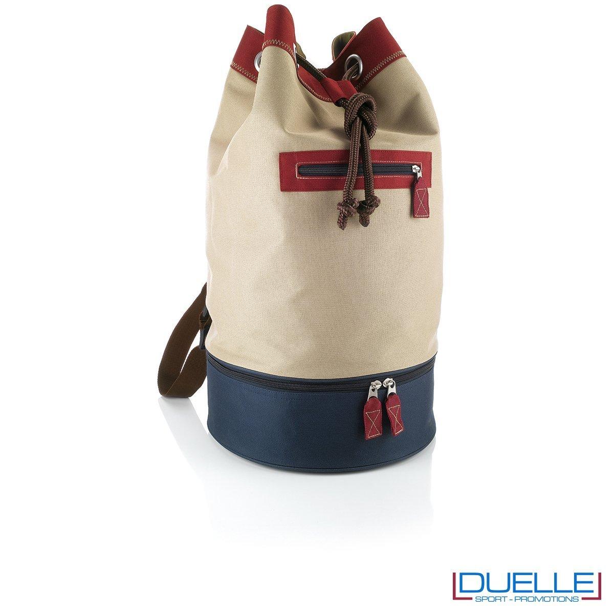 sacche mare personalizzate beige e rossa, zaini mare personalizzabili retrò
