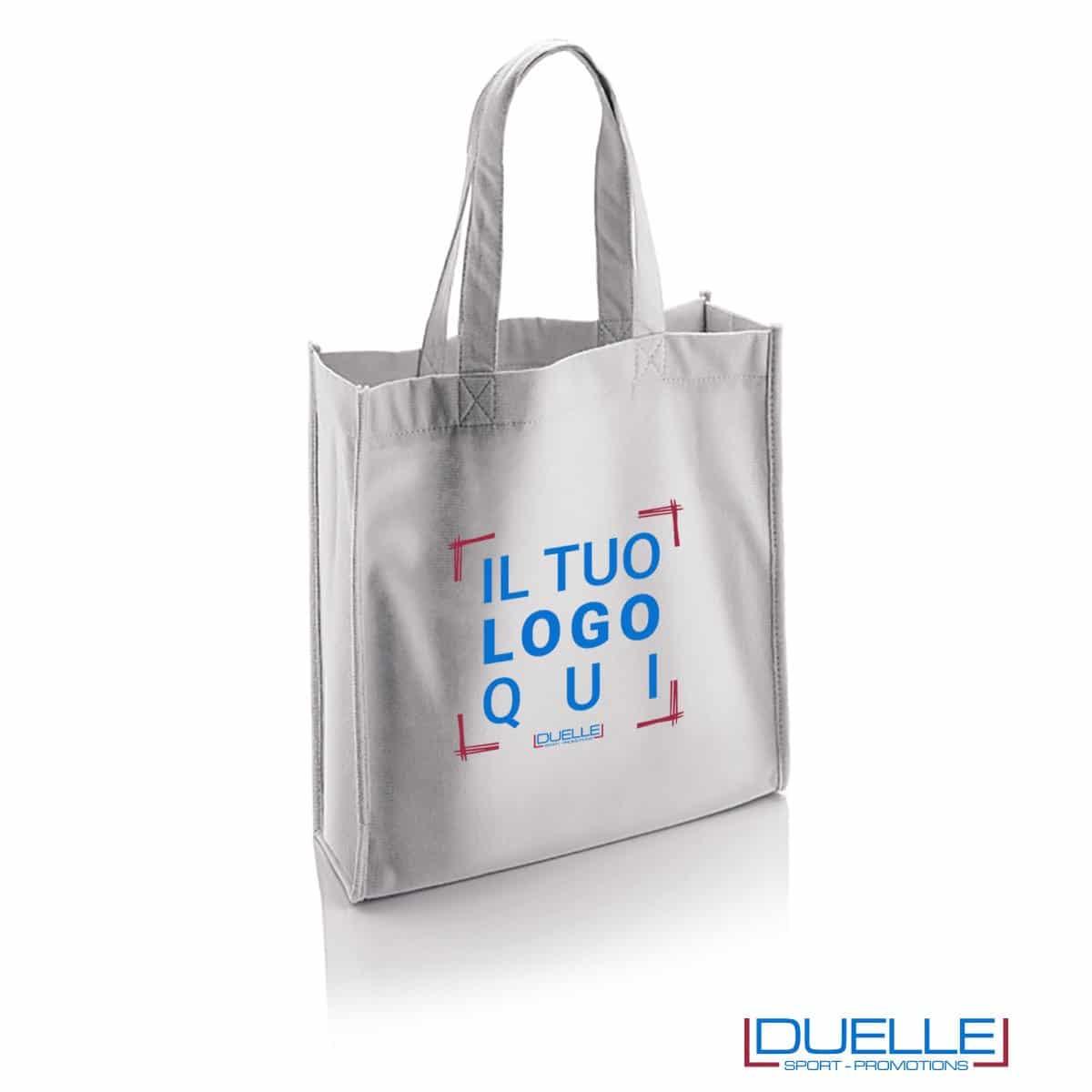 borsa shopper personalizzata in r-pet ecologica di colore bianco, borsa personalizzata