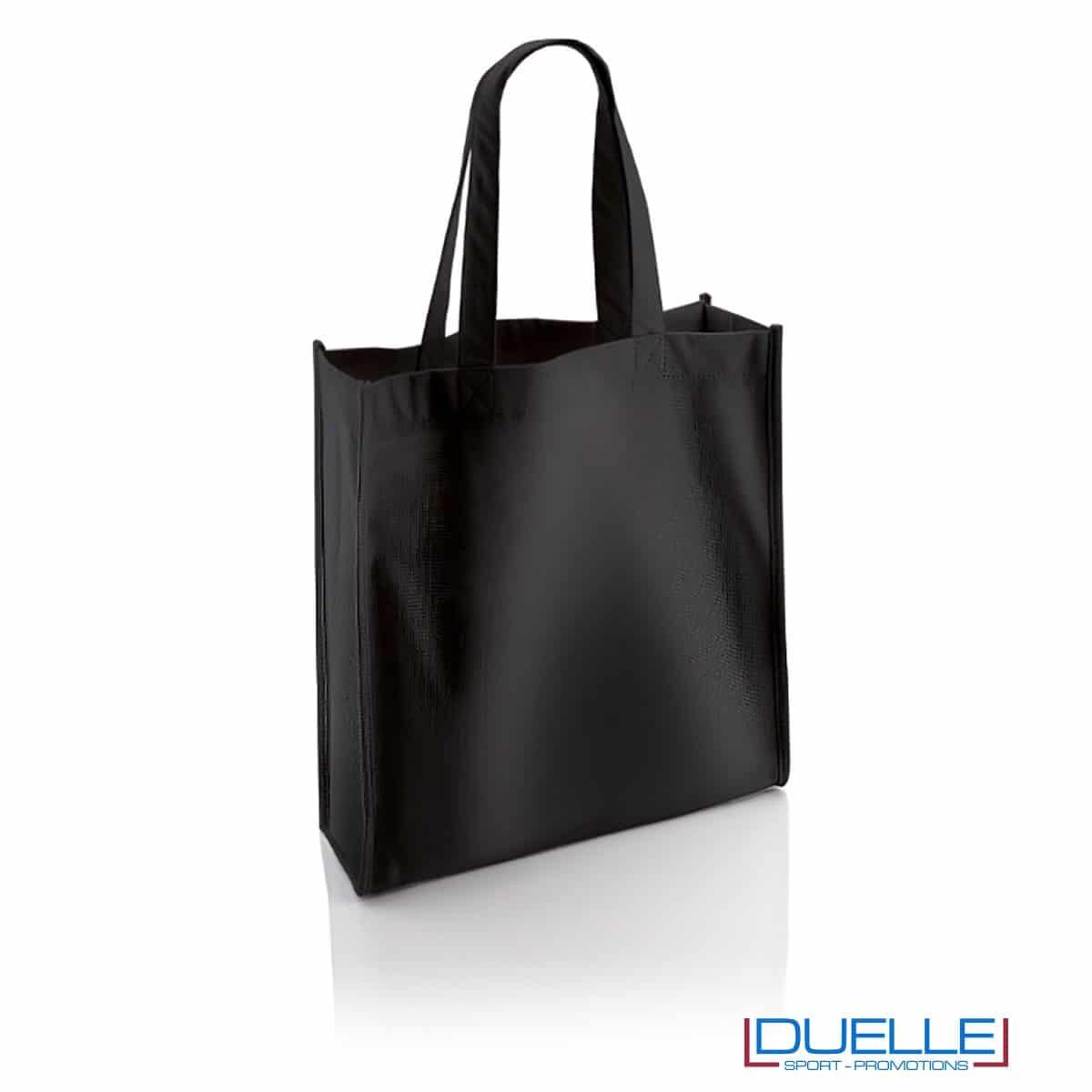 borsa shopper personalizzata in r-pet ecologica di colore nero, borsa personalizzata