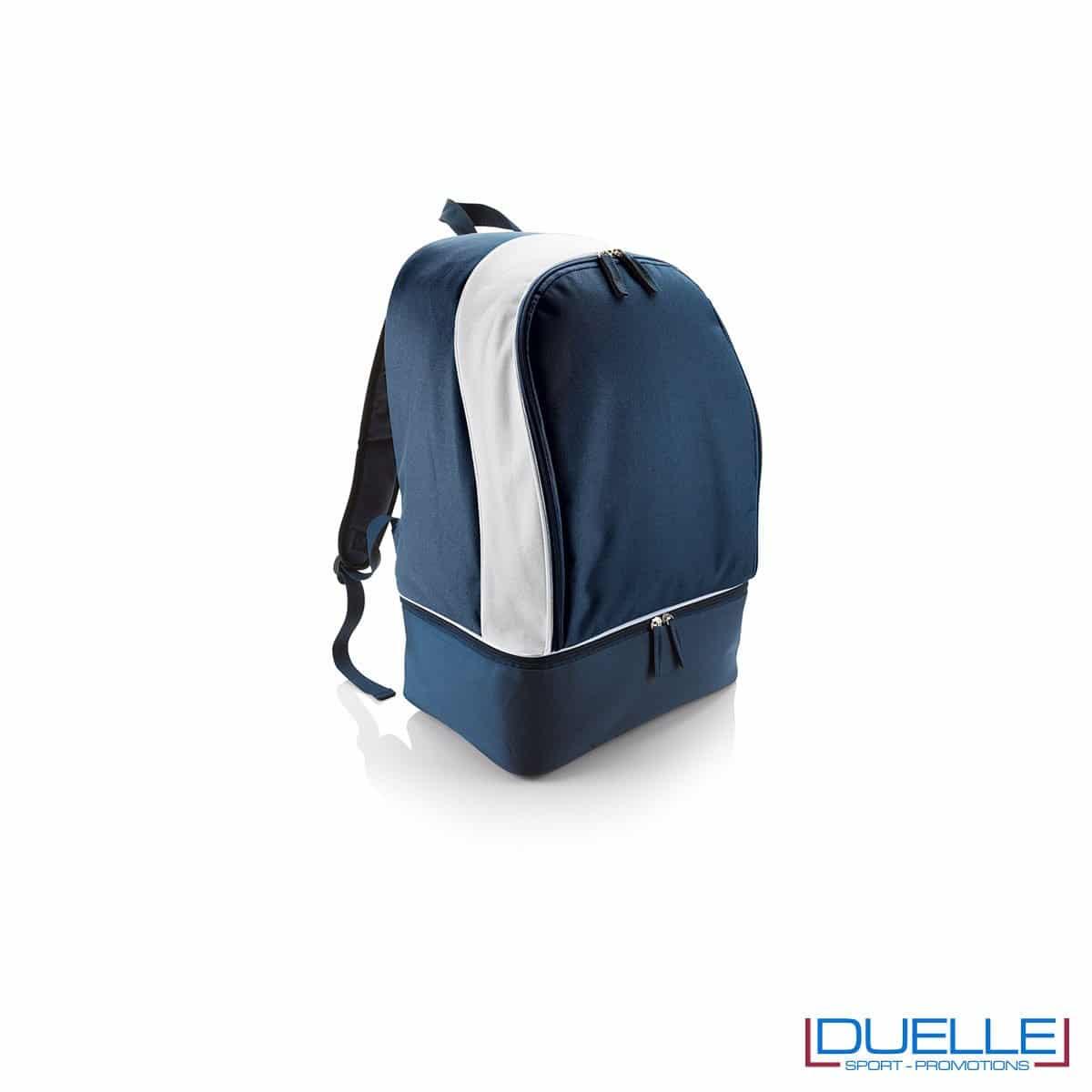 zaino sportivo personalizzato con porta scarpe in colore blu navy, zaini personalizzati per palestre e piscine blu navy
