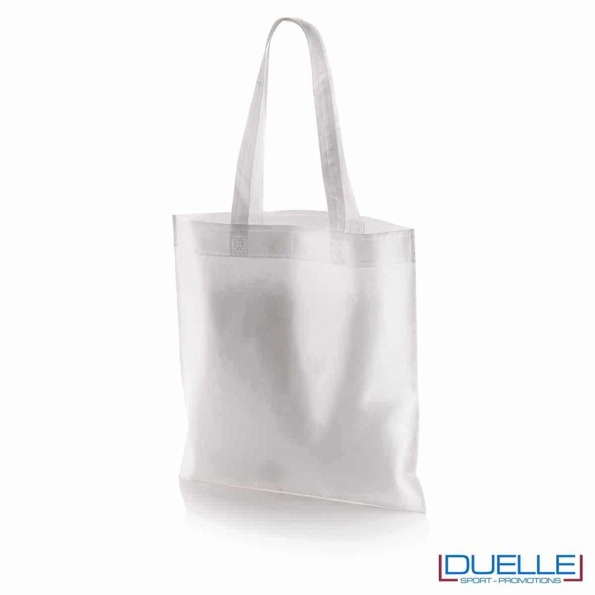 borsa shooper personalizzata in tnt termosaldato bianco, offerta borse promozionali in tnt economiche bianche