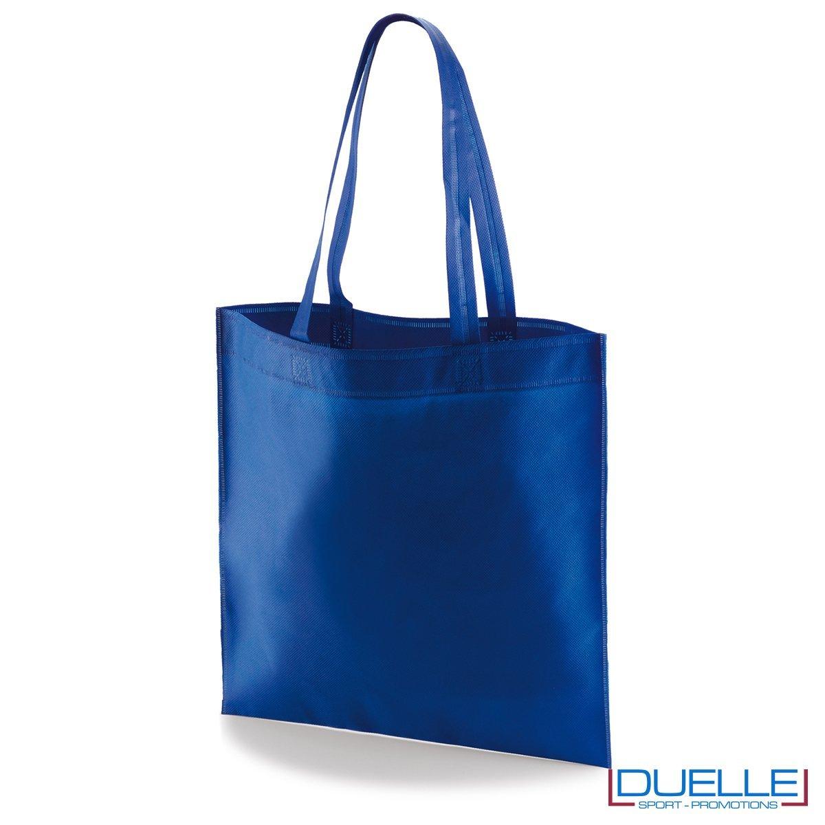 borsa shooper personalizzata in tnt termosaldato blu royal, offerta borse promozionali in tnt economiche blu royal