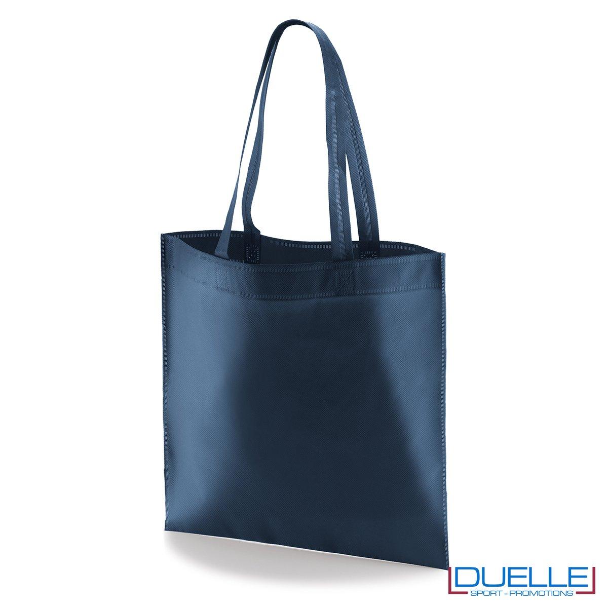 borsa shooper personalizzata in tnt termosaldato blu navy, offerta borse promozionali in tnt economiche blu navy