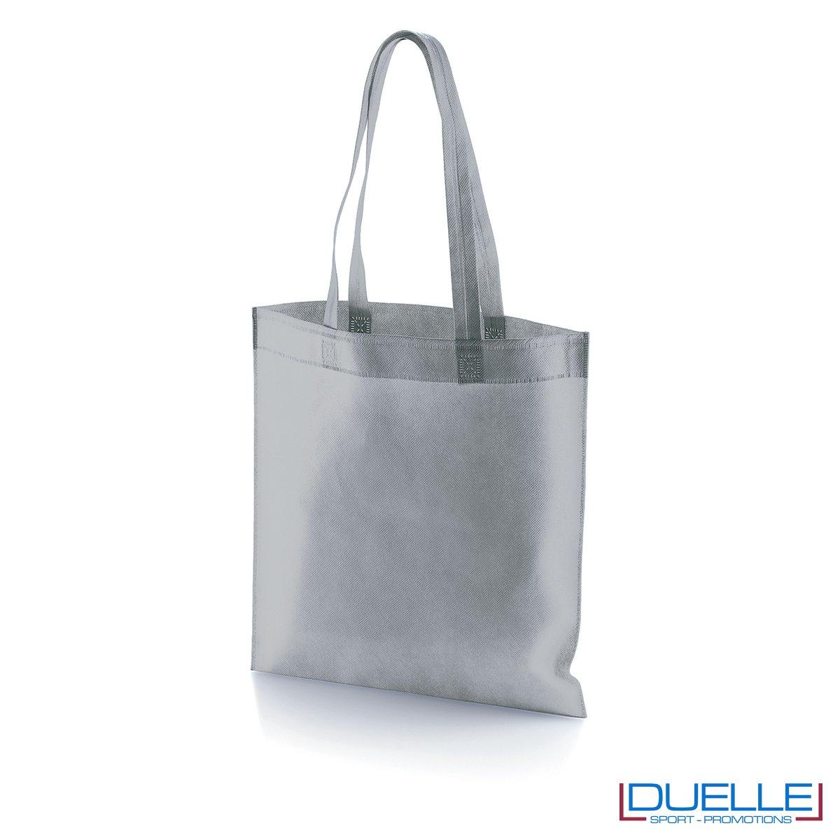 borsa shooper personalizzata in tnt termosaldato grigio, offerta borse promozionali in tnt economiche grigie