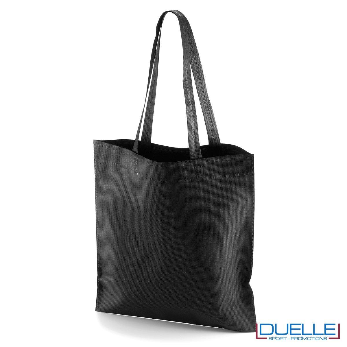 borsa shooper personalizzata in tnt termosaldato nero, offerta borse promozionali in tnt economiche nere