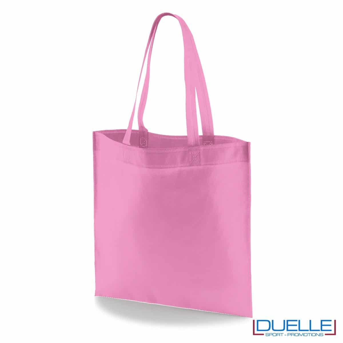 borsa shooper personalizzata in tnt termosaldato rosa, offerta borse promozionali in tnt economiche rosa