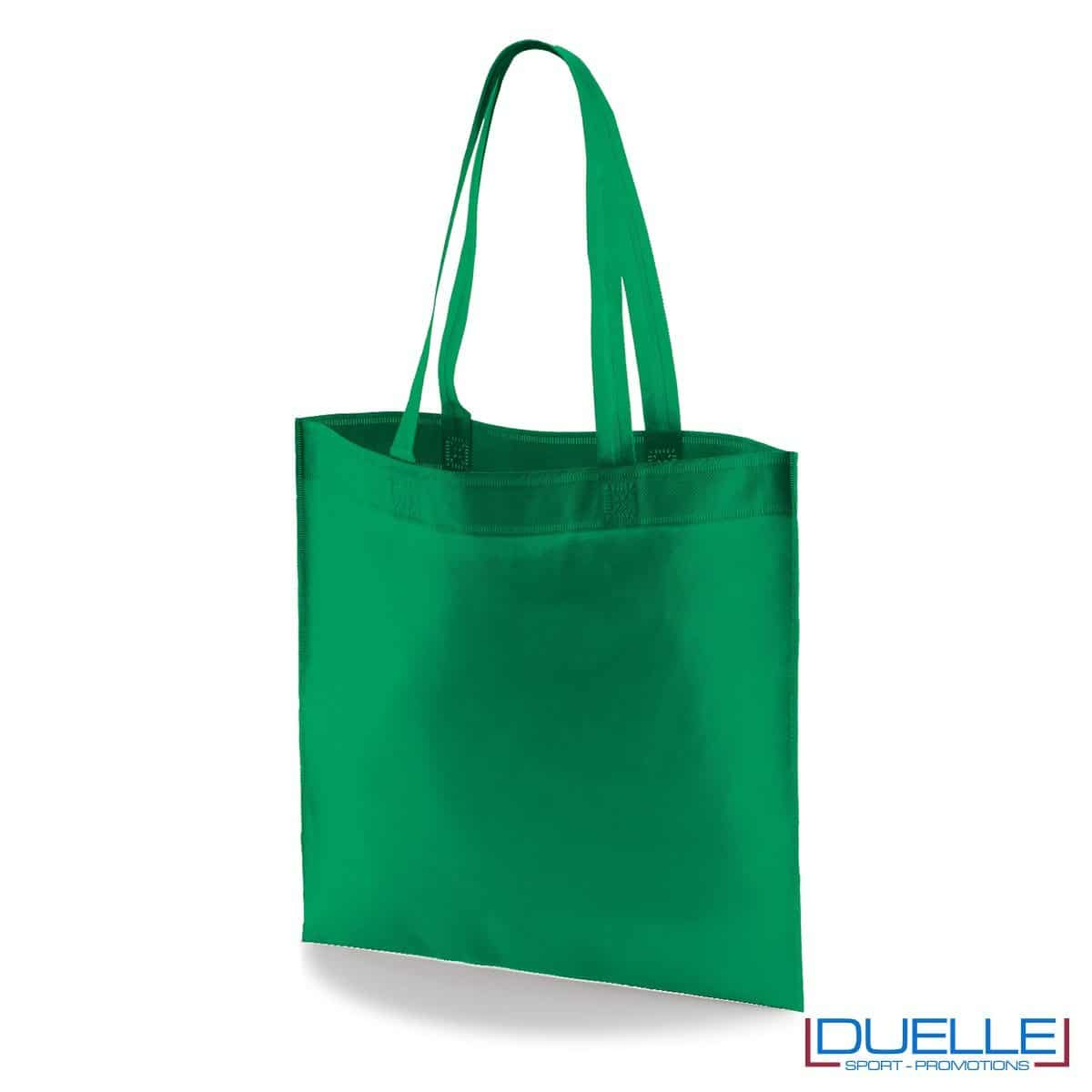 borsa shooper personalizzata in tnt termosaldato verde scuro, offerta borse promozionali in tnt economiche verde scuro