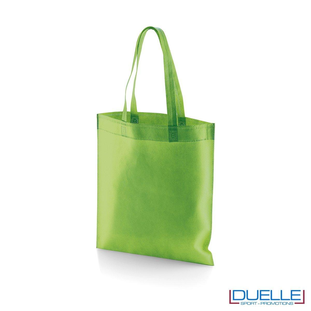 borsa shooper personalizzata in tnt termosaldato verde chiaro, offerta borse promozionali in tnt economiche verde chiaro