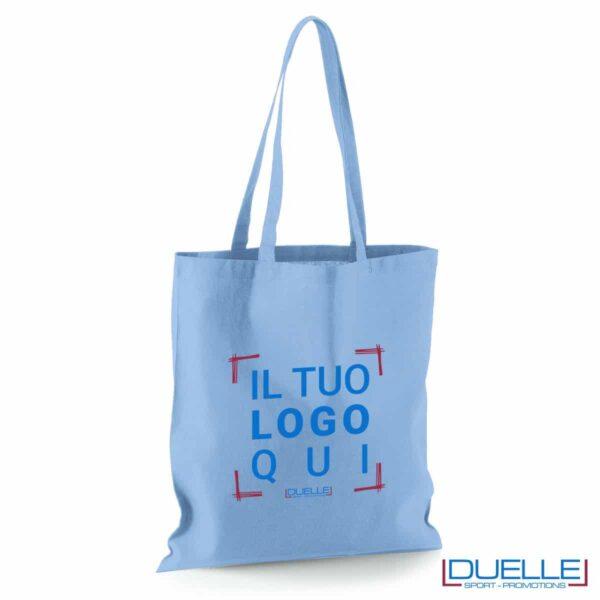 Shopper personalizzata in puro cotone azzurro