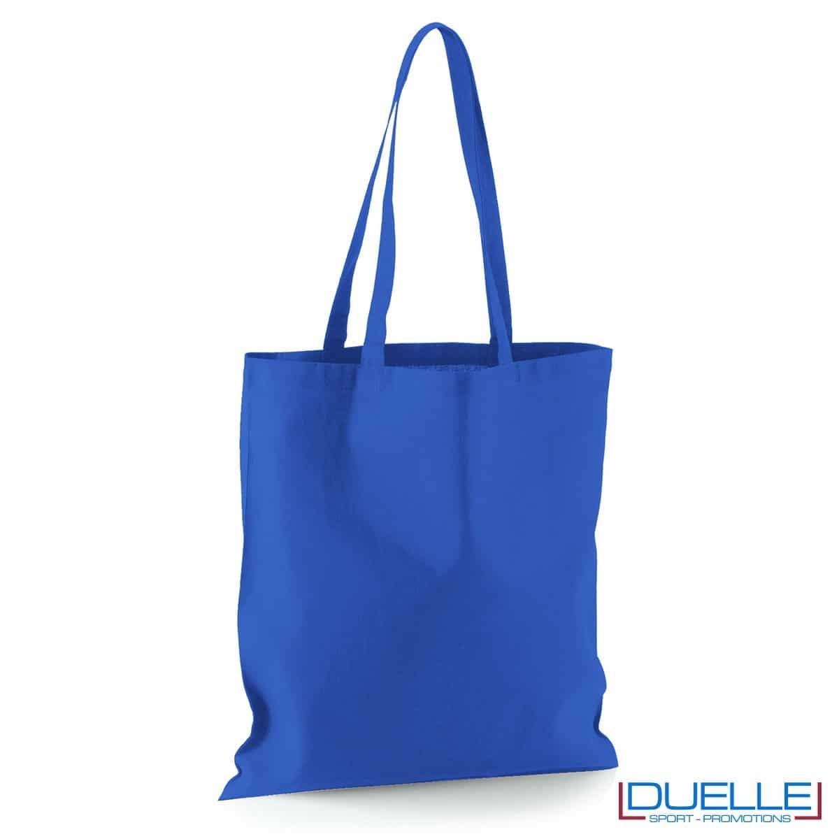 Shopper personalizzata in puro cotone blu royal