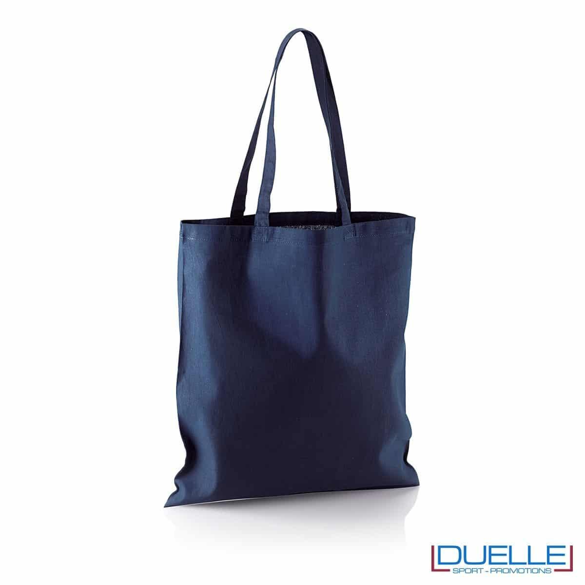 Shopper personalizzata in puro cotone blu navy