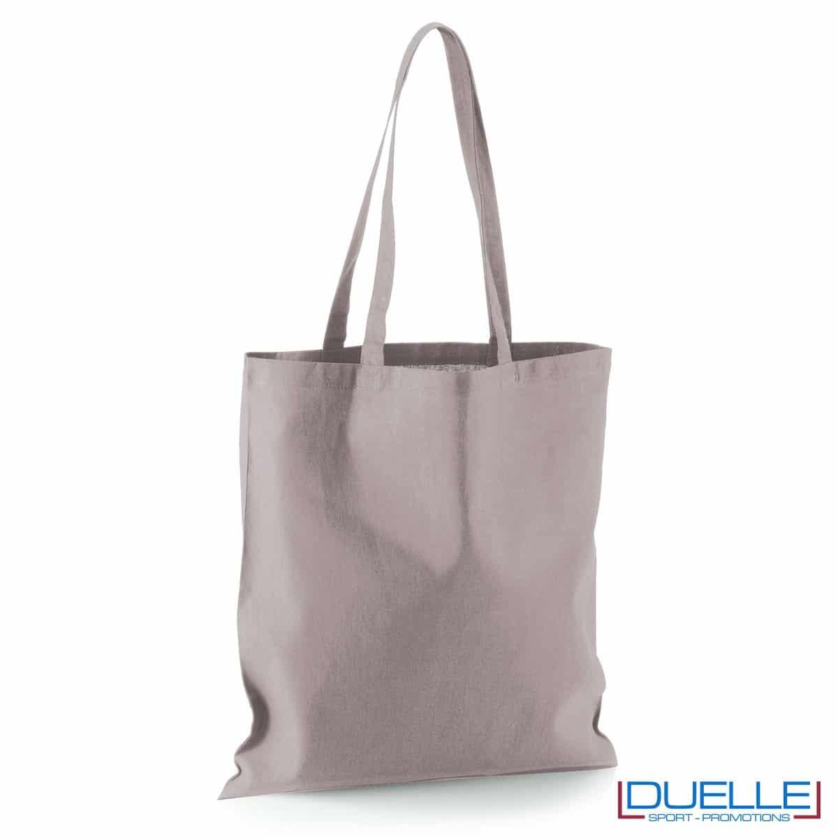 Shopper personalizzata in puro cotone grigio