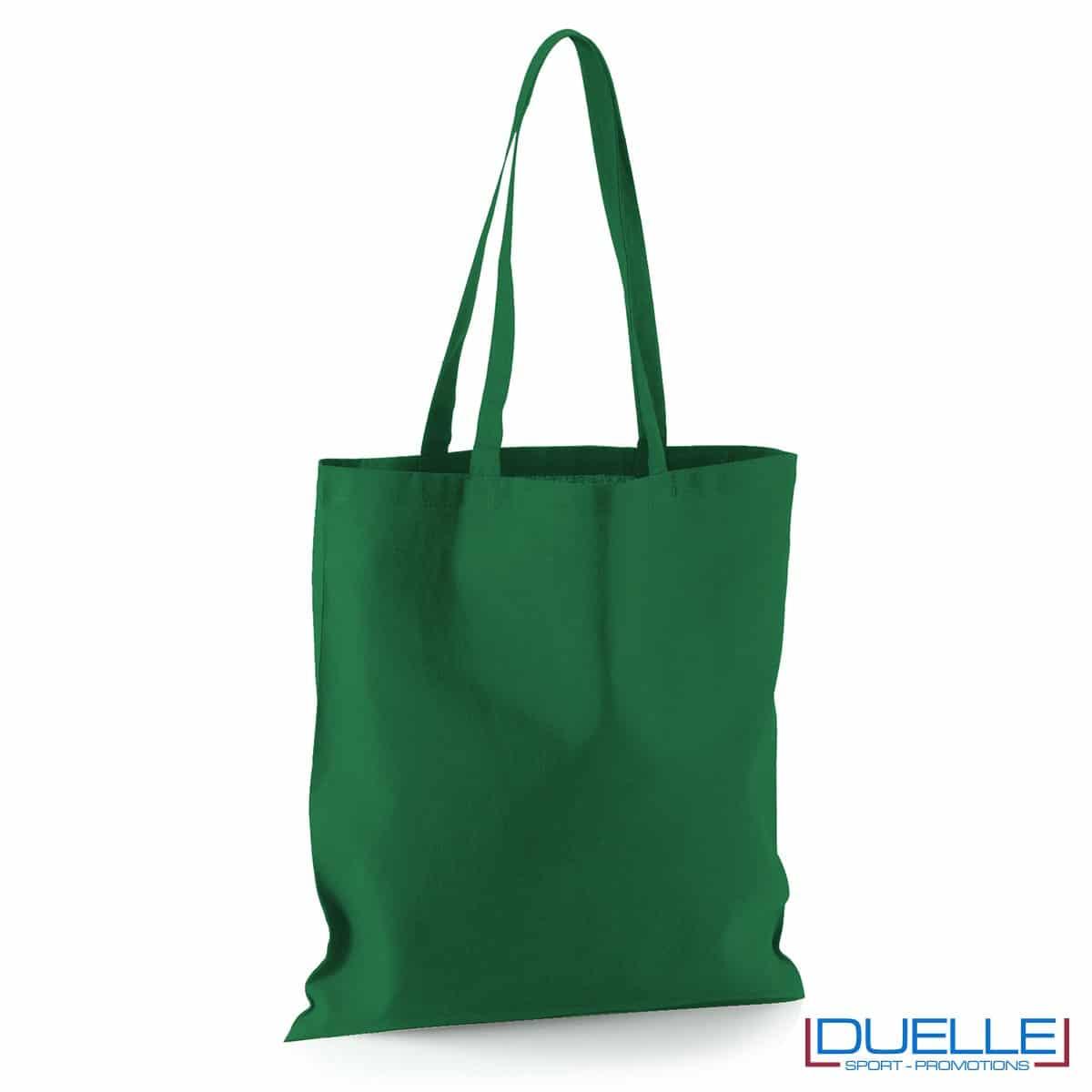 Shopper personalizzata in puro cotone verde scuro