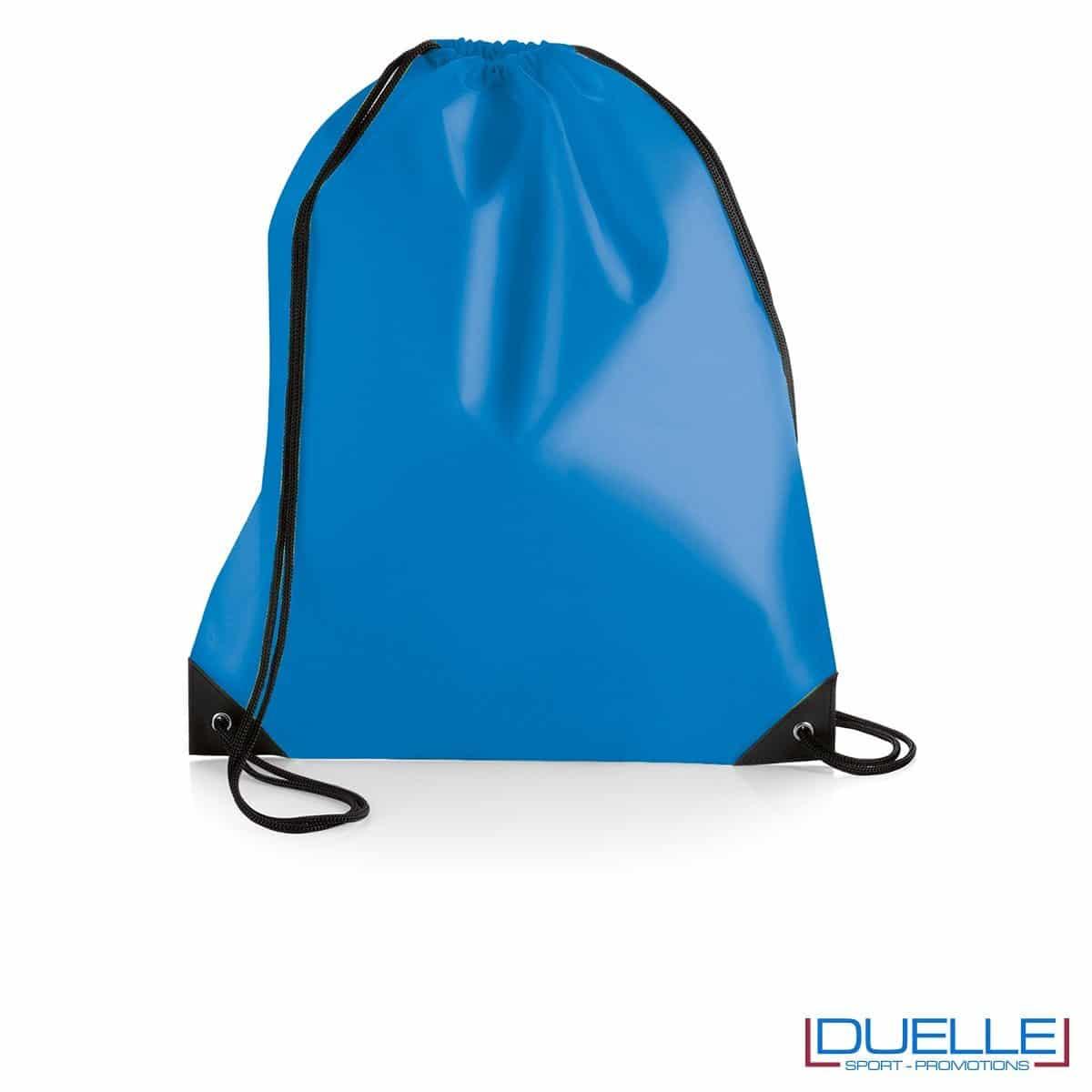 zainetto sportivo personalizzato in nylon colore azzurro con rinforzi, gadget sportivi personalizzati