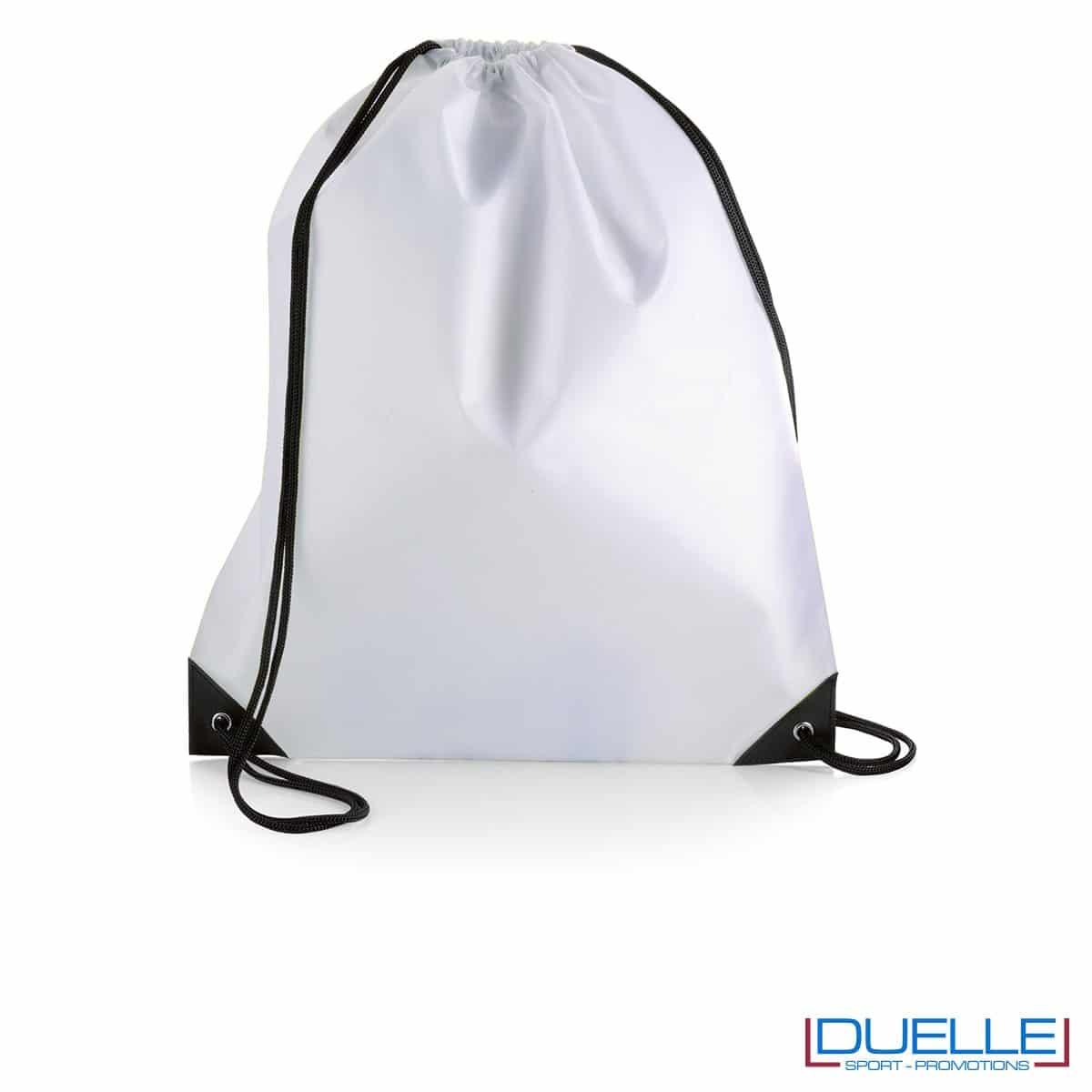 zainetto sportivo personalizzato in nylon colore bianco con rinforzi, gadget sportivi personalizzati
