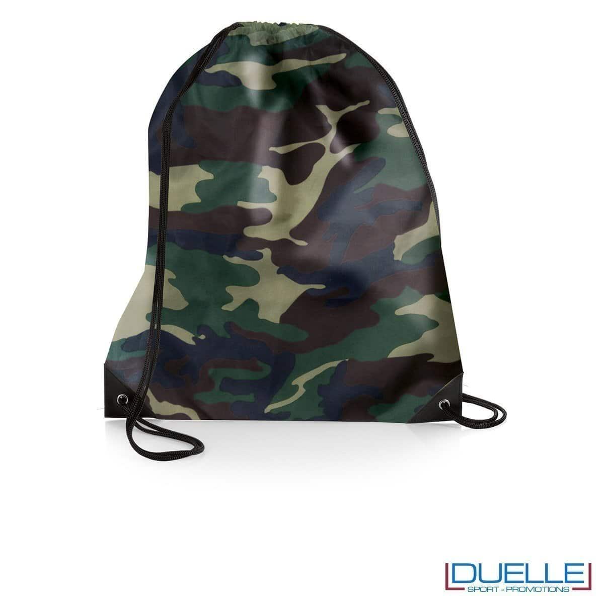 zainetto sportivo personalizzato in nylon colore militare con rinforzi, gadget sportivi personalizzati