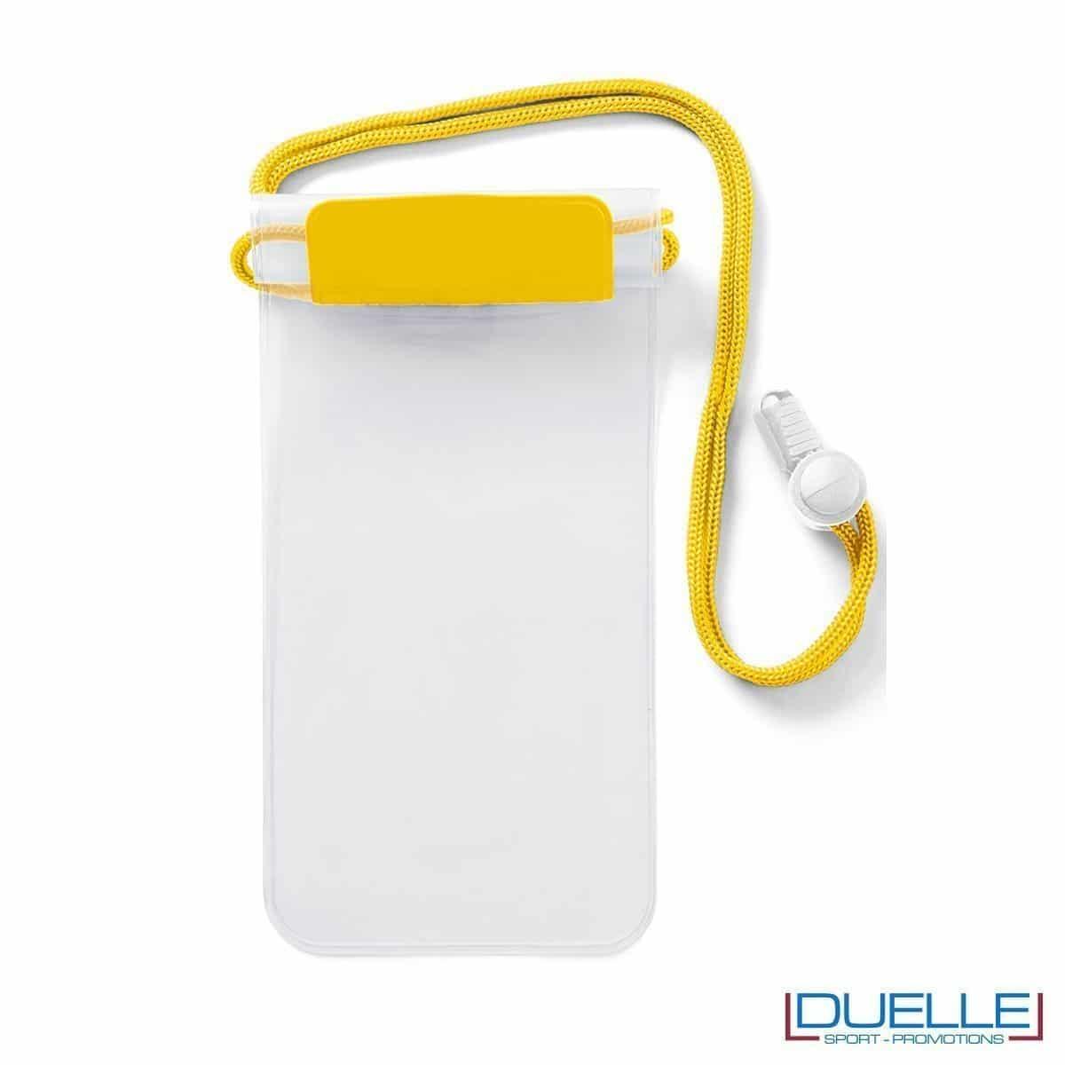 portacellulare personalizzato impermeabile colore giallo, porta smartphone impermeabile personalizzabile colore giallo