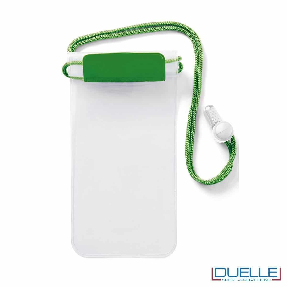 portacellulare personalizzato impermeabile colore verde, porta smartphone impermeabile personalizzabile colore verde