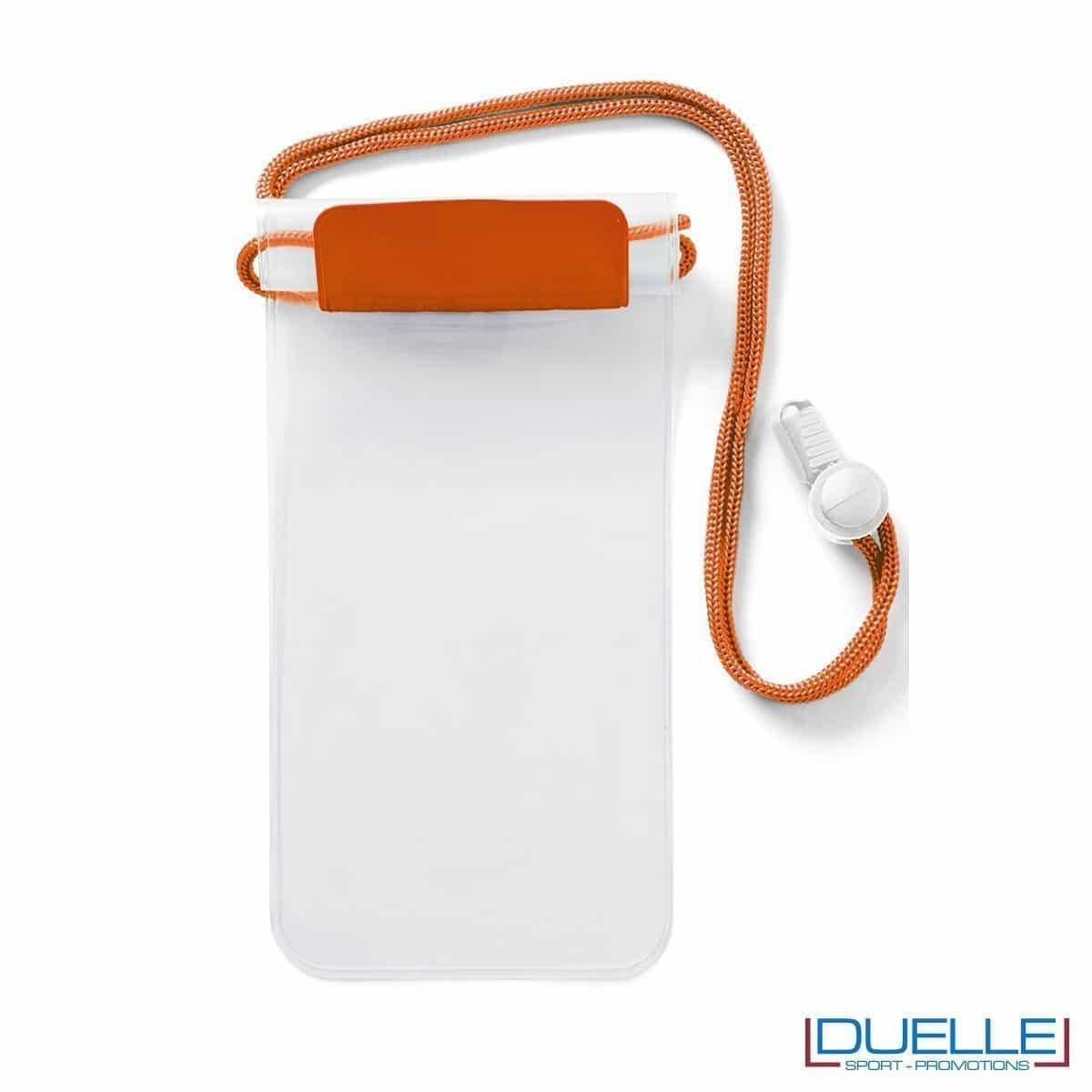 portacellulare personalizzato impermeabile colore arancione, porta smartphone impermeabile personalizzabile colore arancione