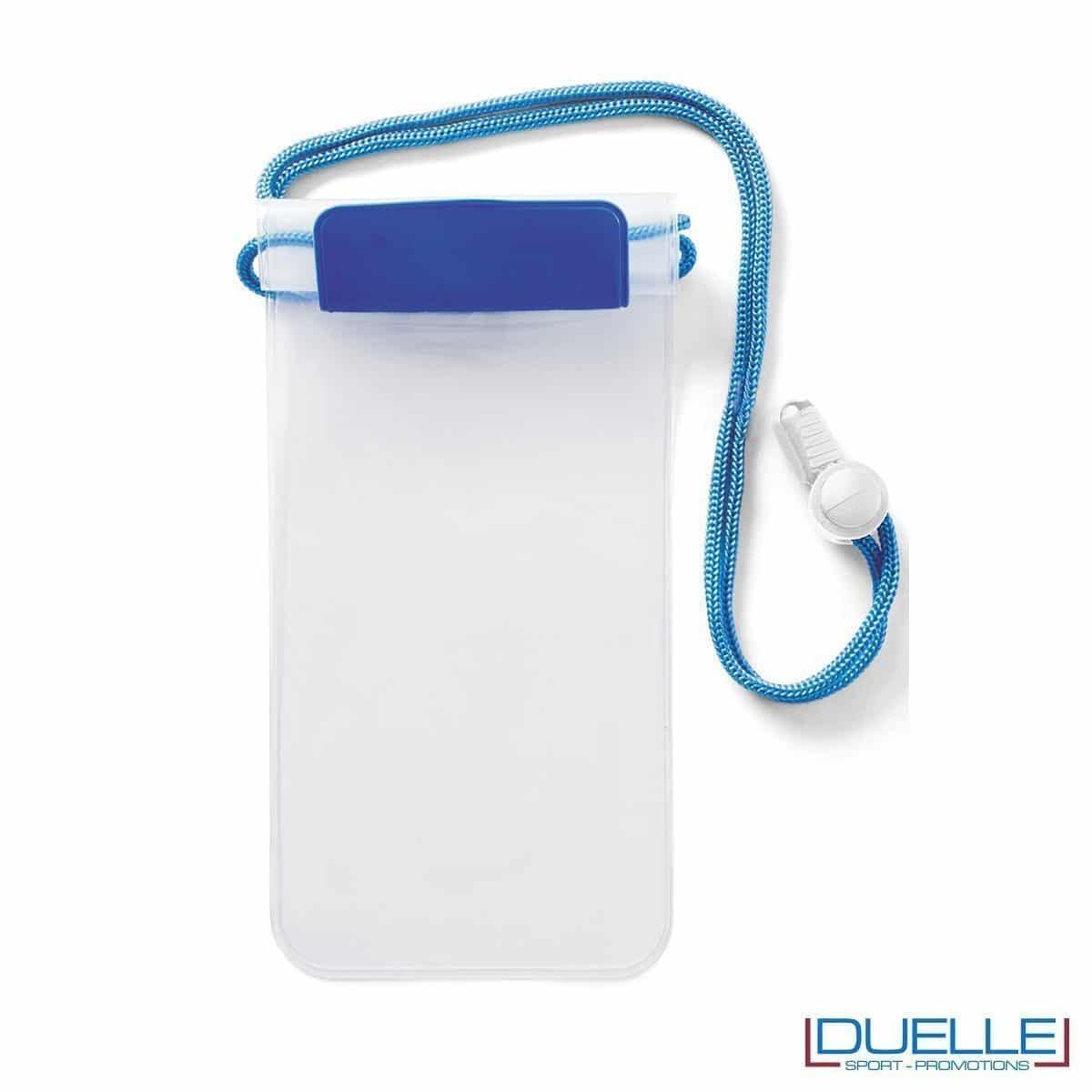 portacellulare personalizzato impermeabile colore blu, porta smartphone impermeabile personalizzabile colore blu