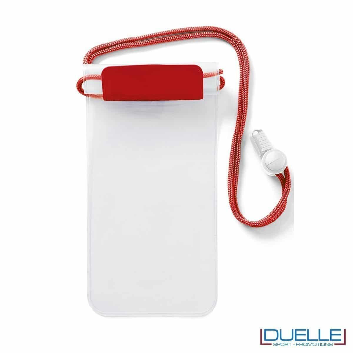 portacellulare personalizzato impermeabile colore rosso, porta smartphone impermeabile personalizzabile colore rosso