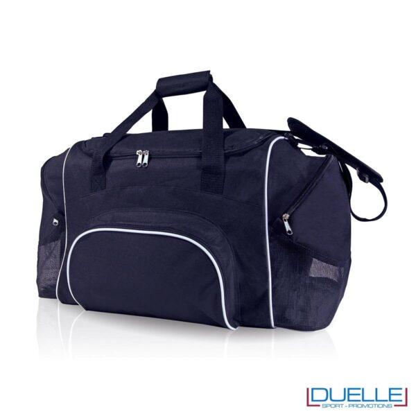 borsa sportiva personalizzata con portascarpe in colore blu, borsoni sportivi personalizzabili blu