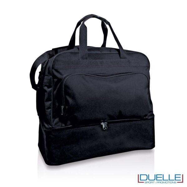 borsone calcio personalizzabile in colore nero, borsoni calcio personalizzati nero