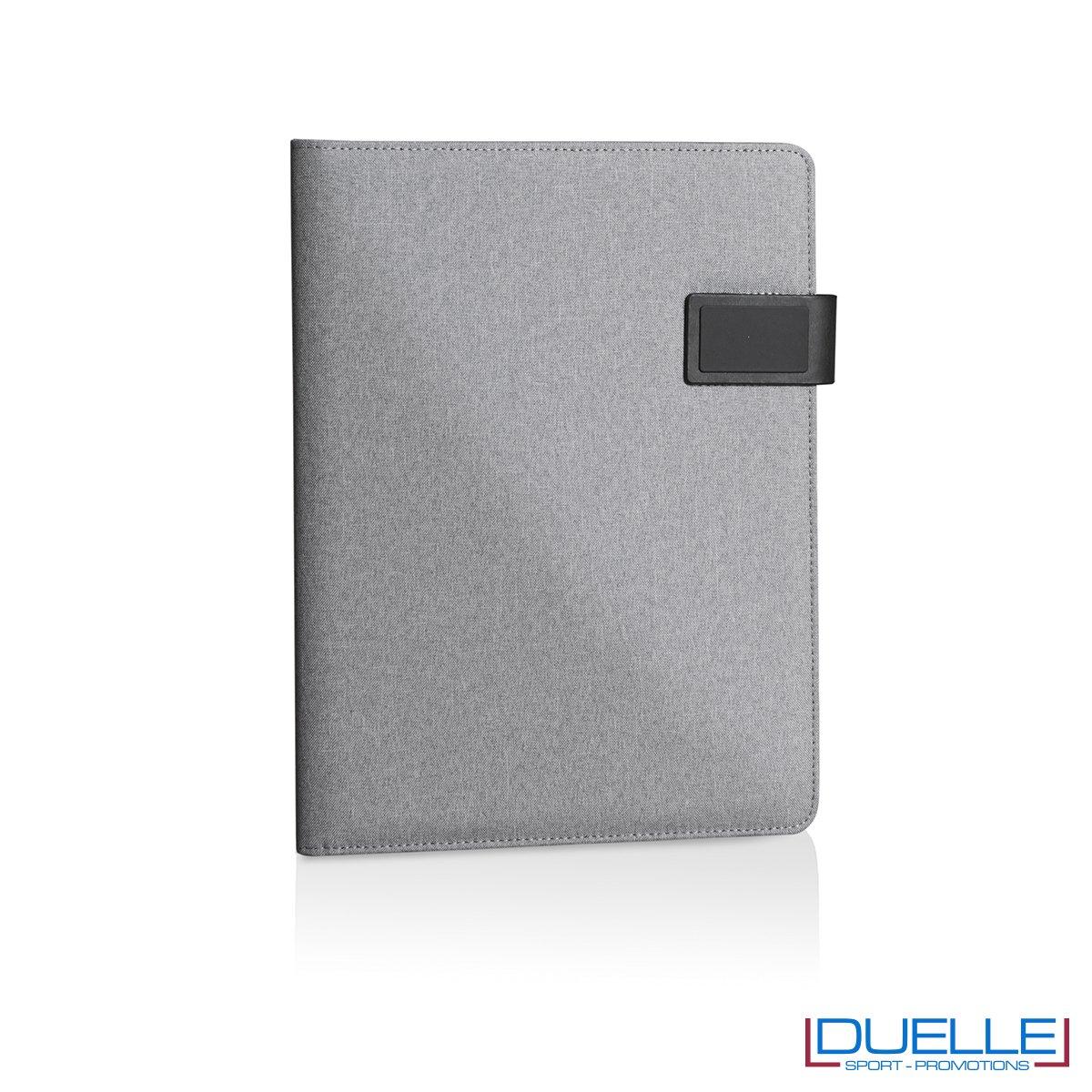 Porta blocco in tessuto personalizzato grigio