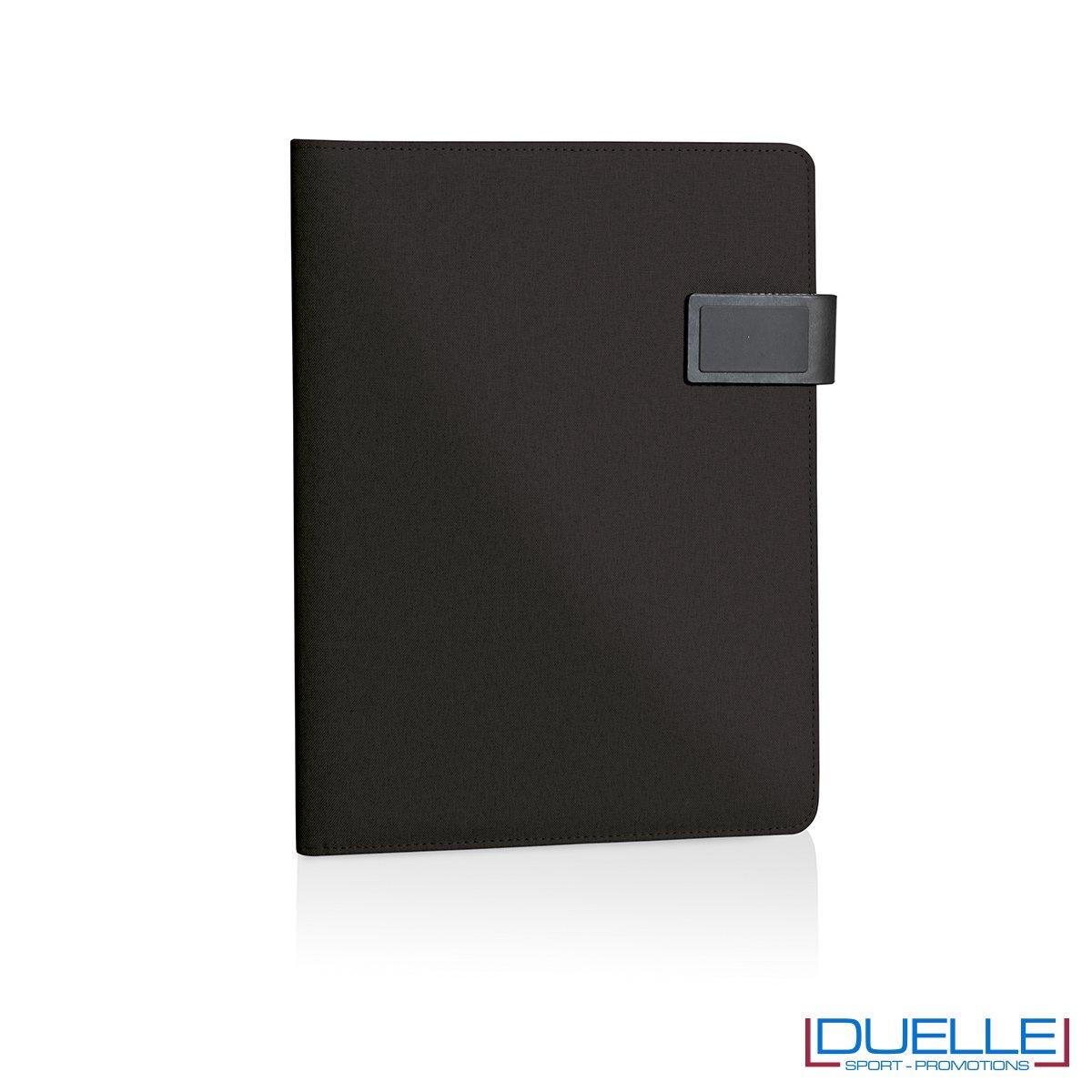 Porta blocco in tessuto personalizzato nero