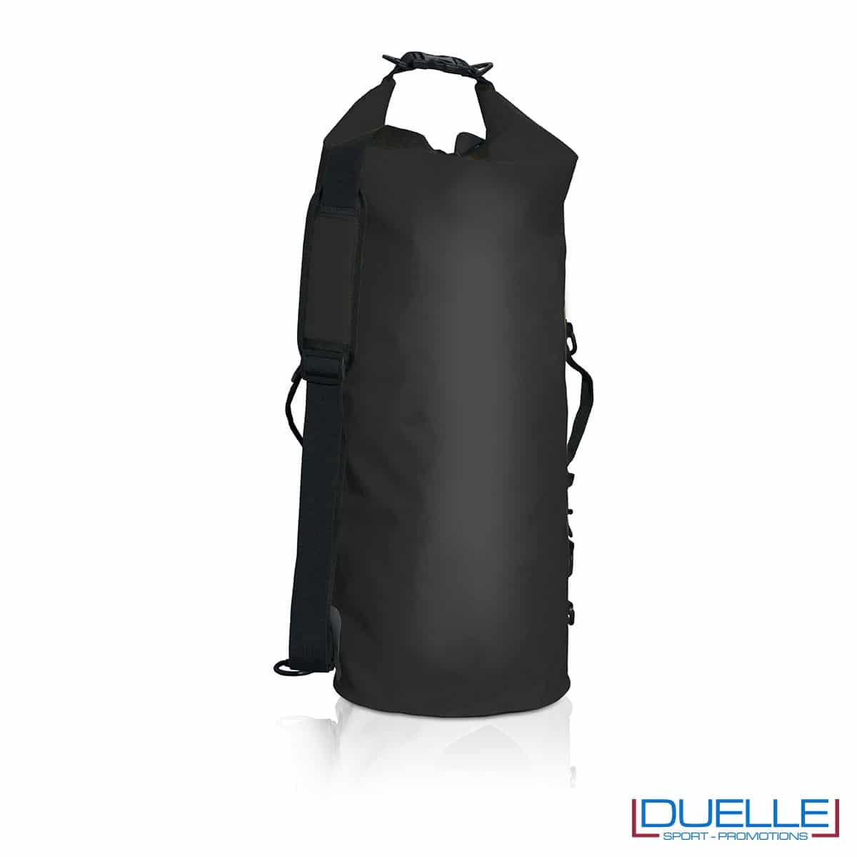 zaino impermeabile personalizzato nero, sacche mare impermeabili personalizzate in colore nero