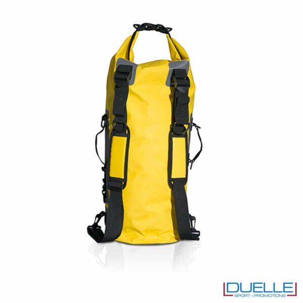 retro zaino impermeabile personalizzato giallo, retro sacche mare impermeabili personalizzate in colore giallo con spallacci