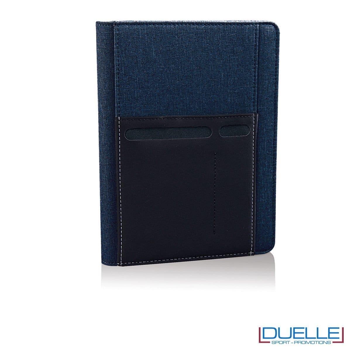 Porta documenti personalizzabile con tasca elasticizzata colore blu navy