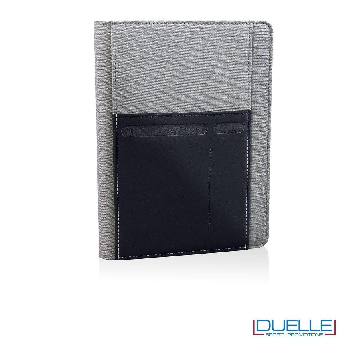 Porta documenti personalizzabile con tasca elasticizzata grigio