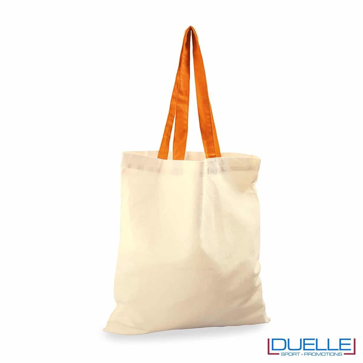 Shopper personalizzata in cotone con manici arancione
