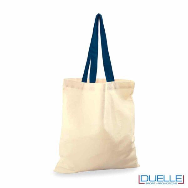 Shopper personalizzata in cotone con manici blu navy